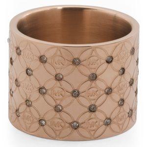 Michael kors Rose gold logo etched barrel ring